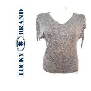 Lucky Brand Gray Short Sleeve Top Size Small Shirt